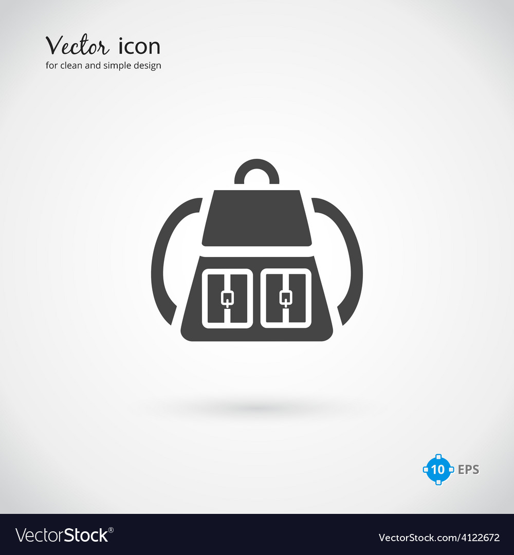 Single gray backpack icon design vector