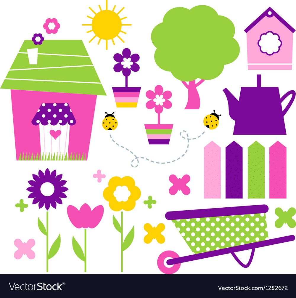 Spring village and garden set isolated on white vector | Price: 1 Credit (USD $1)