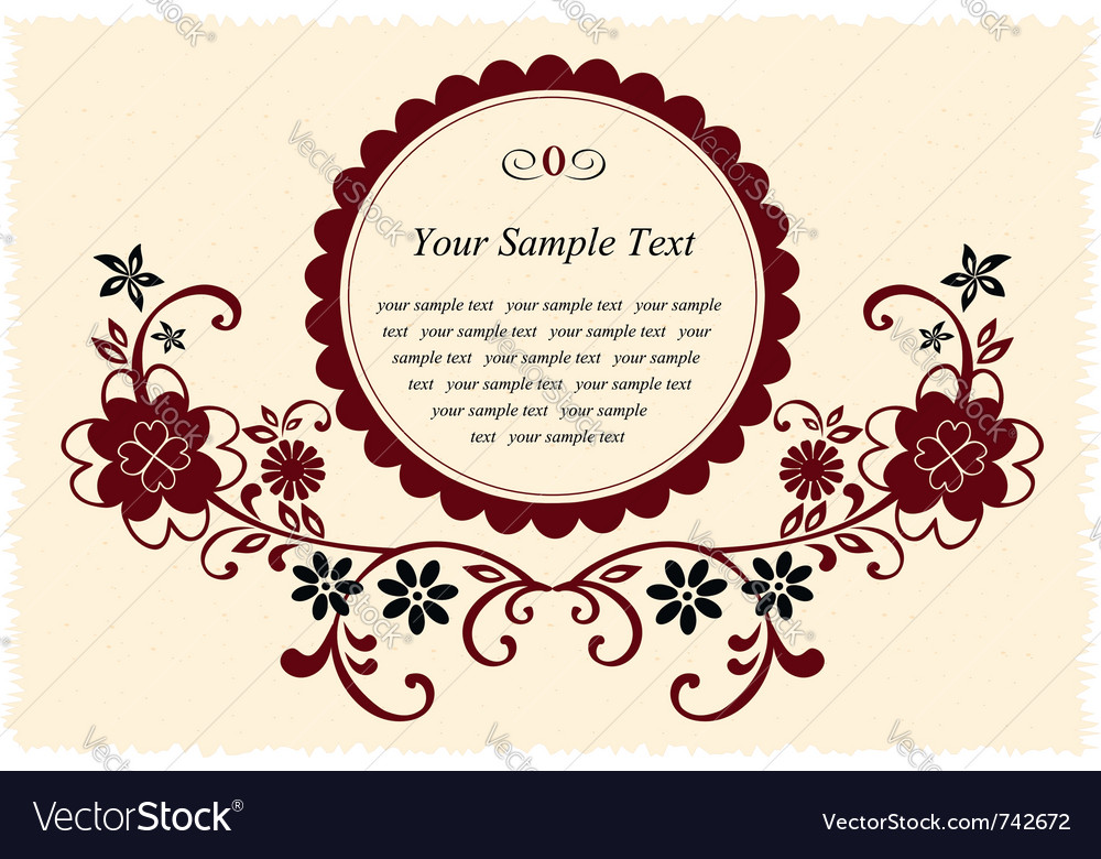 Vintage floral frame vector | Price:  Credit (USD $)
