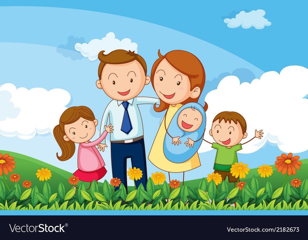 A family at the hills vector | Price: 1 Credit (USD $1)