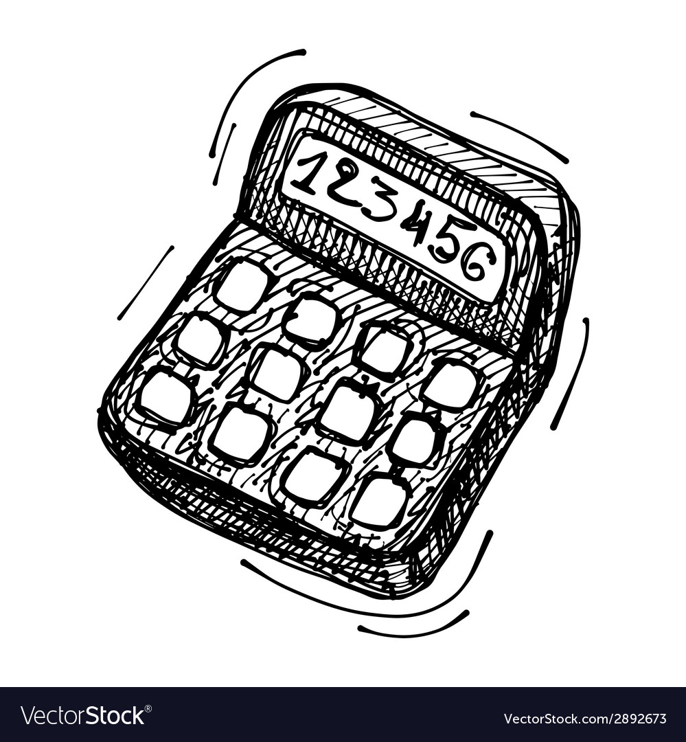Black sketch drawing of calculator vector | Price: 1 Credit (USD $1)
