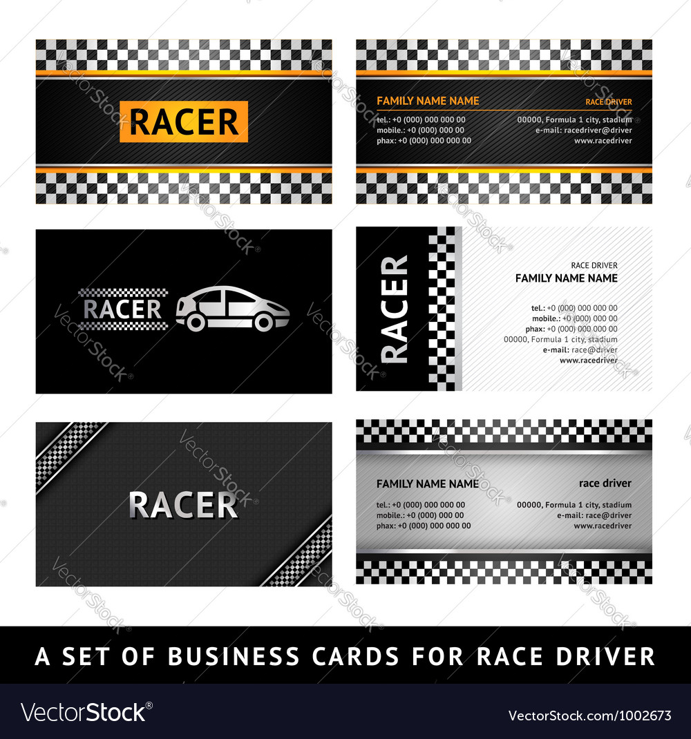 Business card driver race - first set vector | Price: 1 Credit (USD $1)