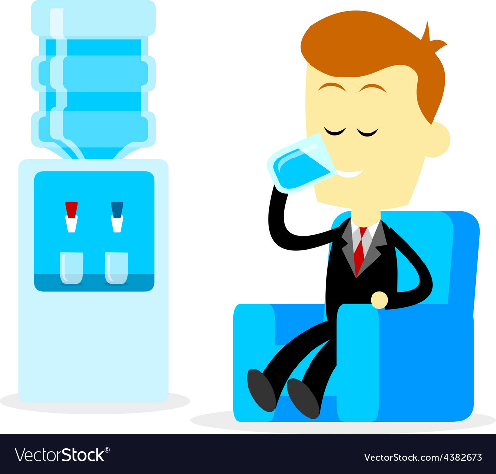 Businessman drinking a glass of water vector | Price: 1 Credit (USD $1)