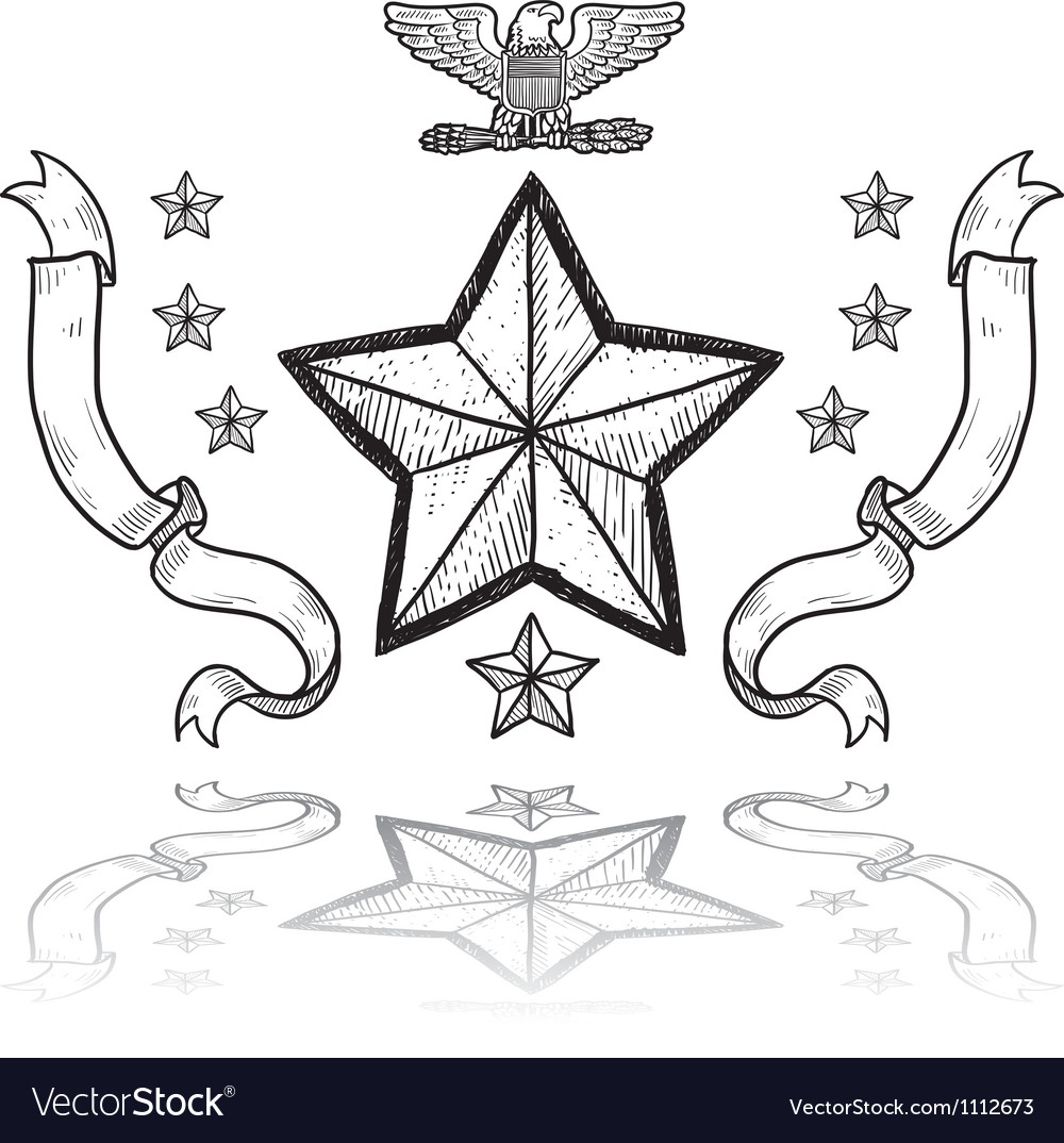 Doodle us military insignia army vector | Price: 1 Credit (USD $1)