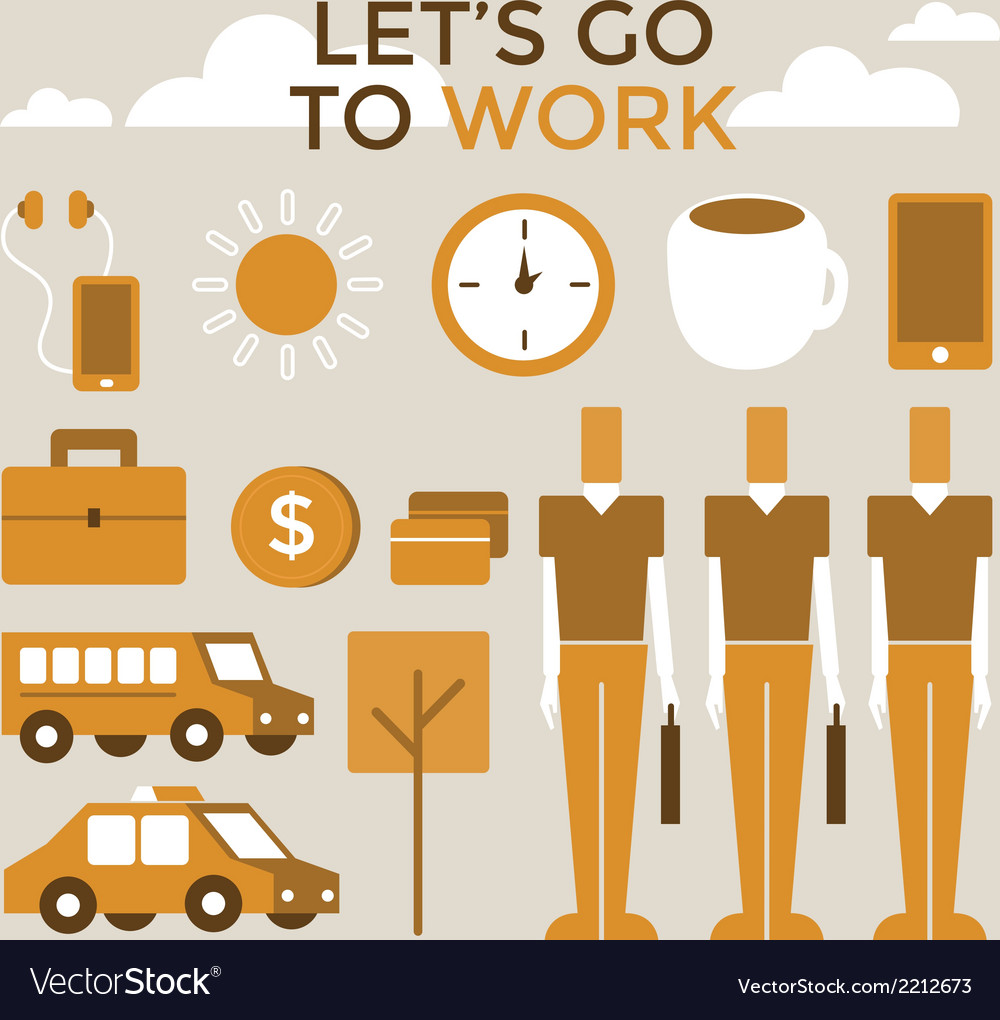 Go to work infographic vector | Price: 1 Credit (USD $1)