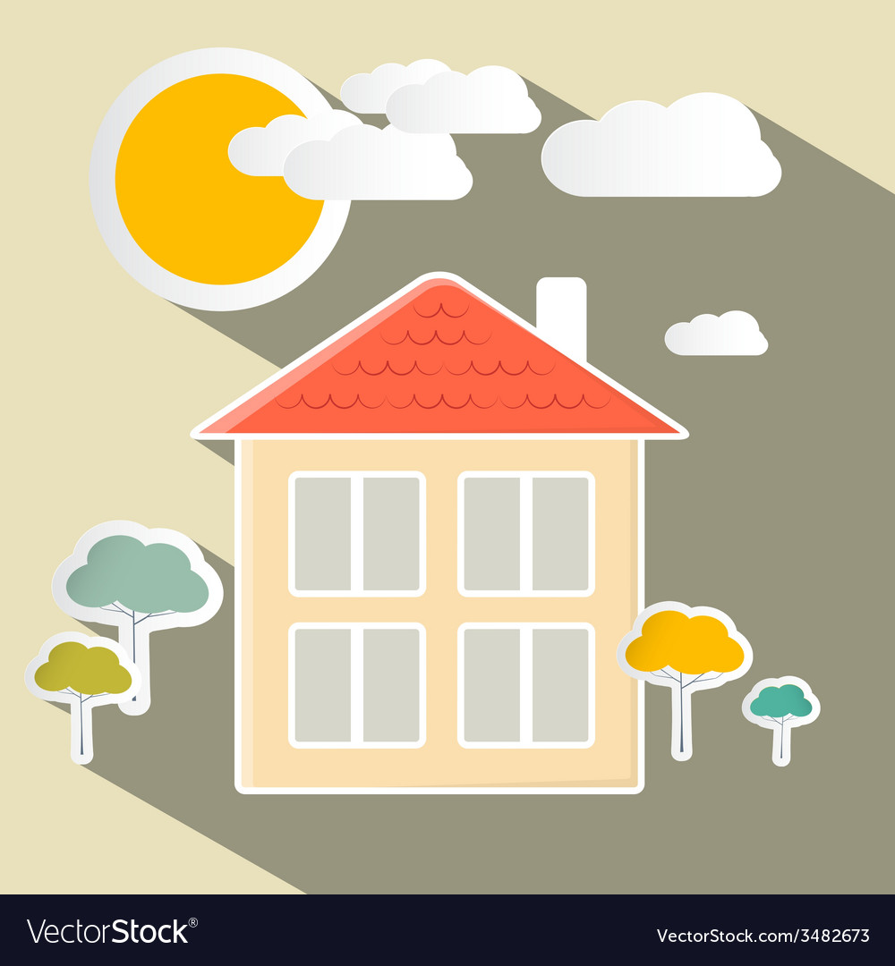 House and trees paper vector | Price: 1 Credit (USD $1)