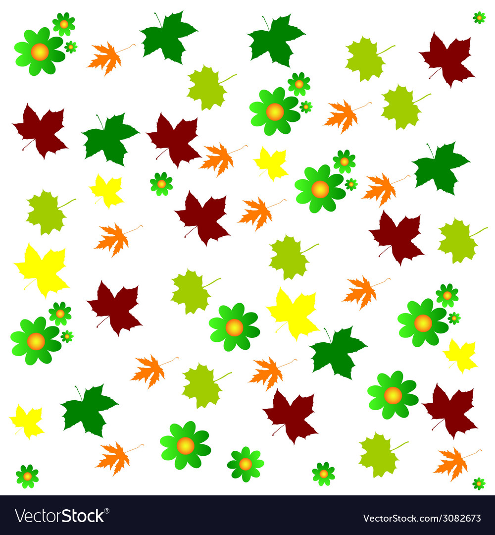 Leaf and flower background color vector | Price: 1 Credit (USD $1)