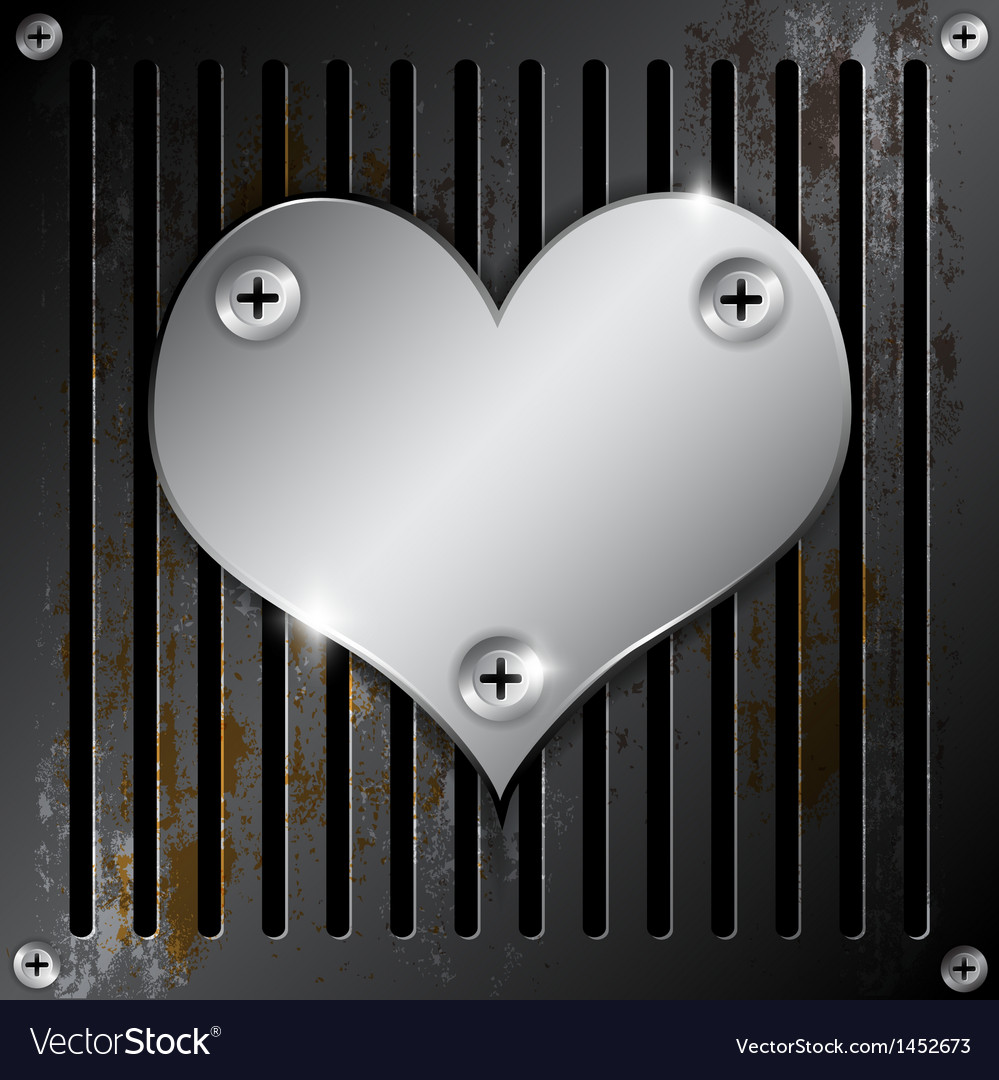 Metallic heart with grille rusty vector | Price: 1 Credit (USD $1)