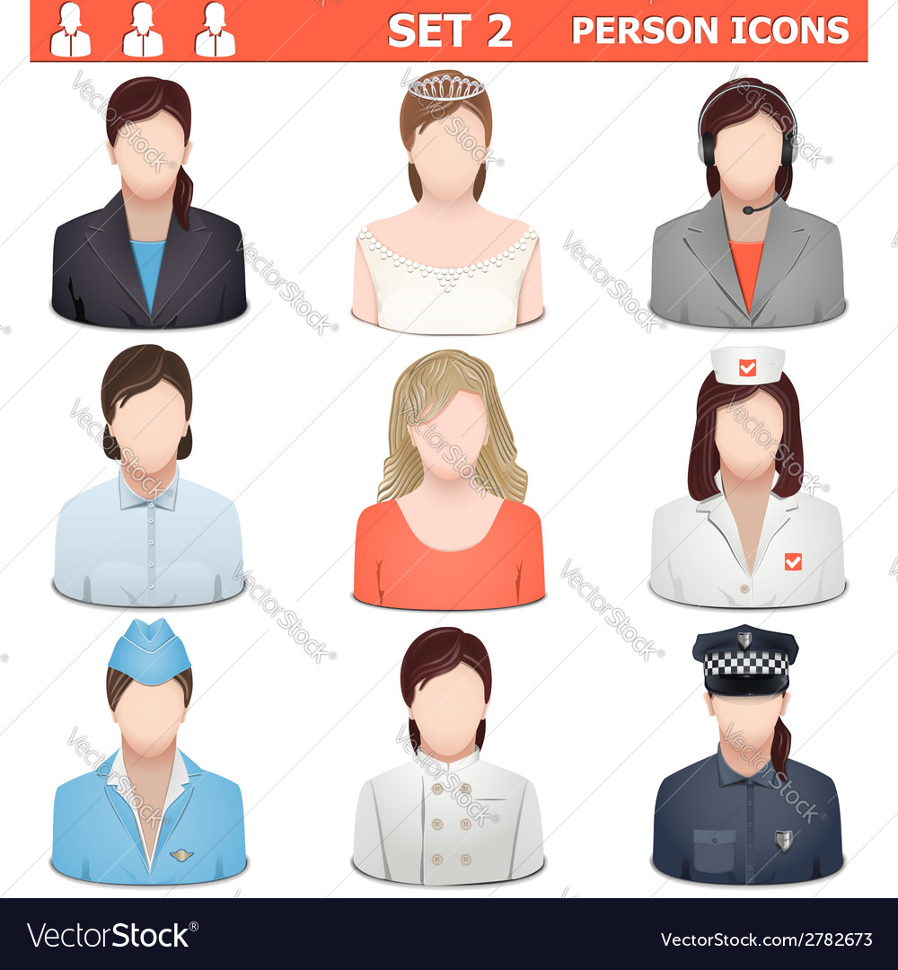 Person icons set 2 vector | Price: 1 Credit (USD $1)
