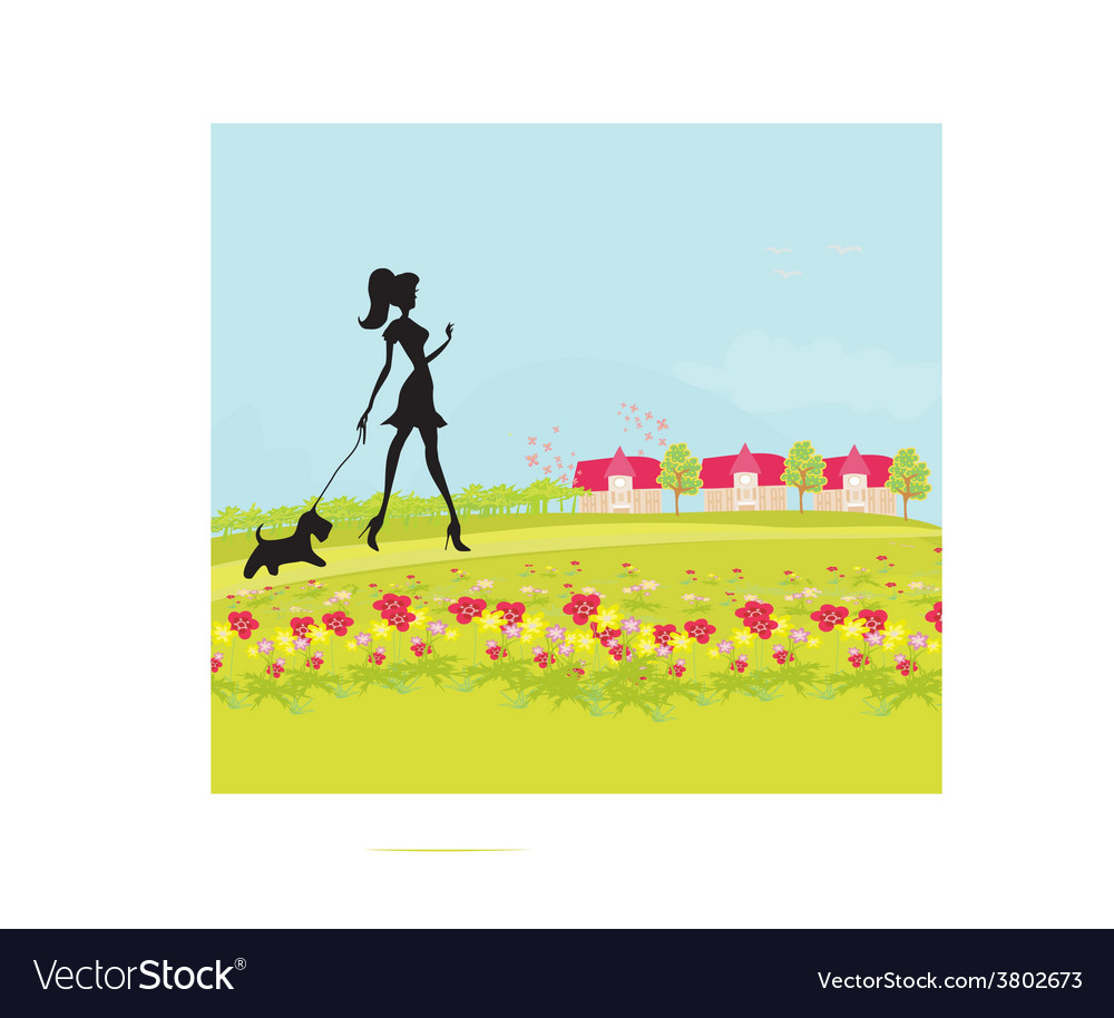 Pretty girl silhouette walking the dog on rural vector | Price: 1 Credit (USD $1)