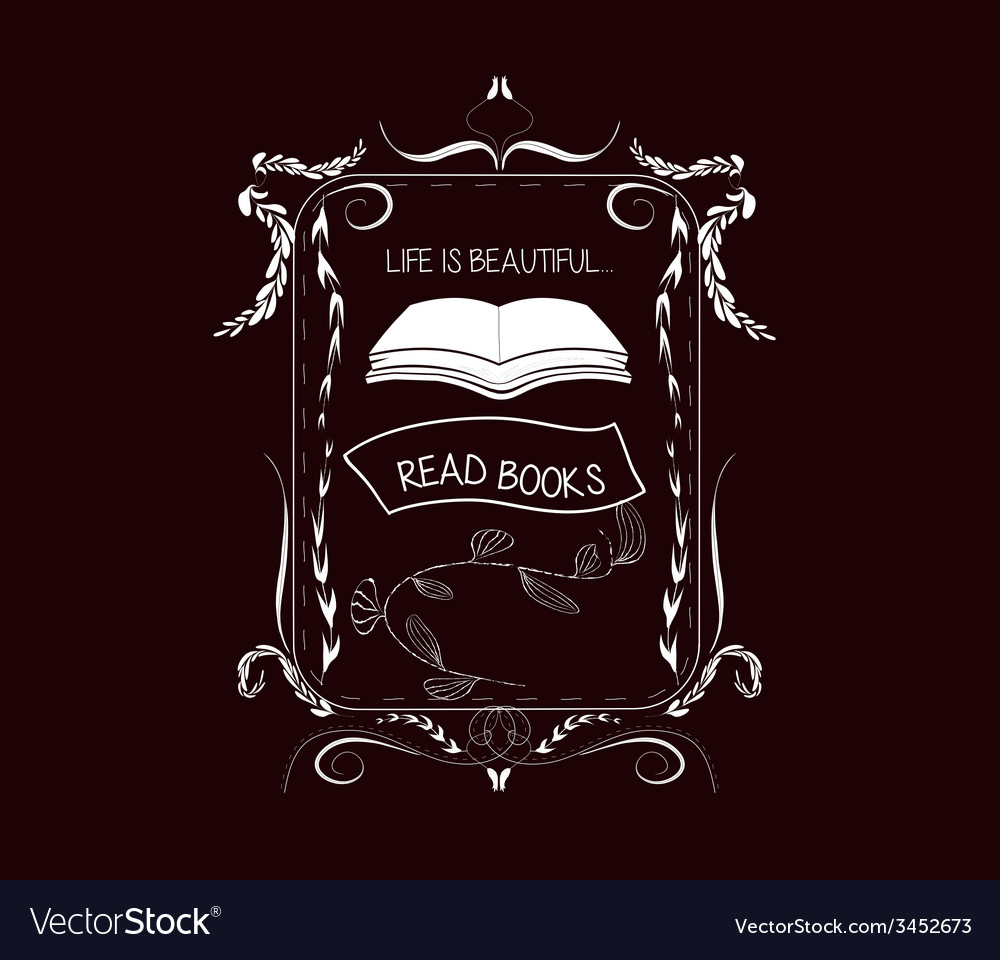 Read books vintage frames and floral ornaments vector   Price: 1 Credit (USD $1)