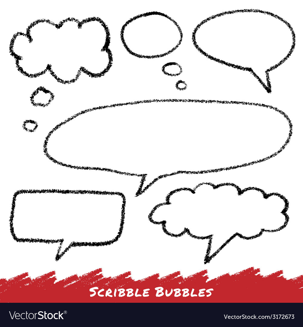 Scribble speech and thought bubbles vector | Price: 1 Credit (USD $1)