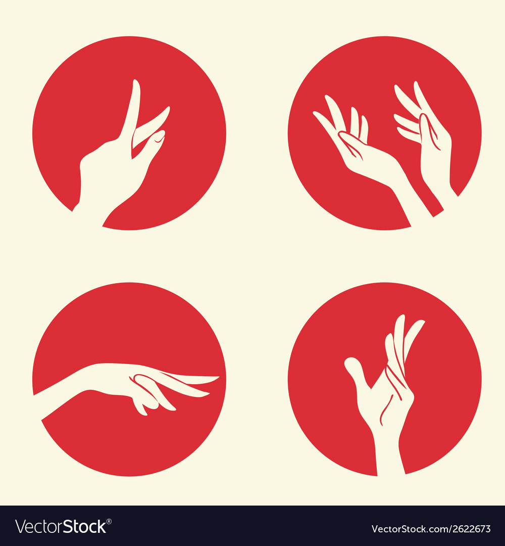 Set with emblems with women hands vector