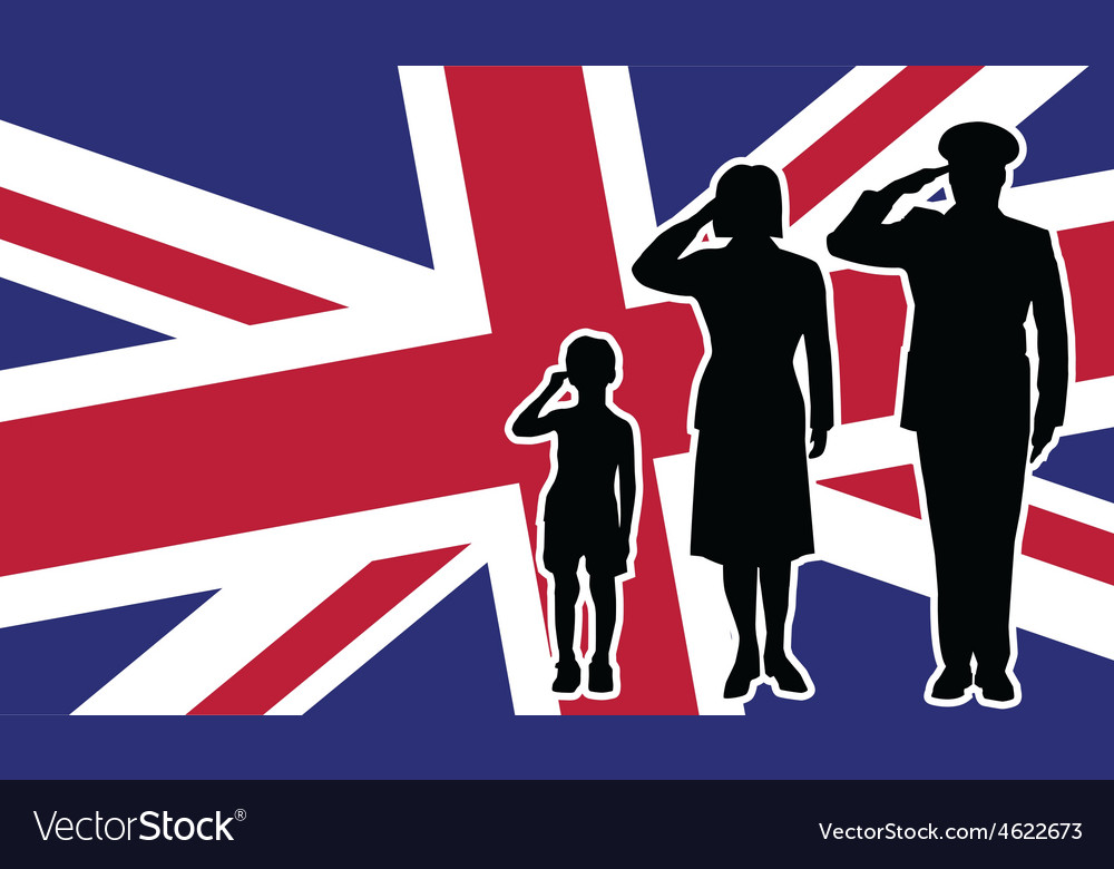 United kingdom soldier family salute vector | Price: 1 Credit (USD $1)
