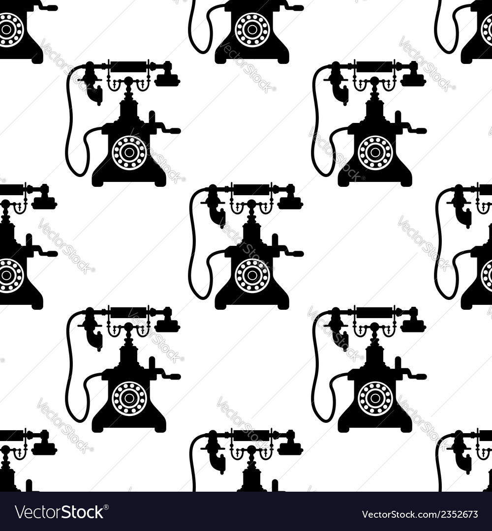 Vintage telephone seamless pattern vector | Price: 1 Credit (USD $1)