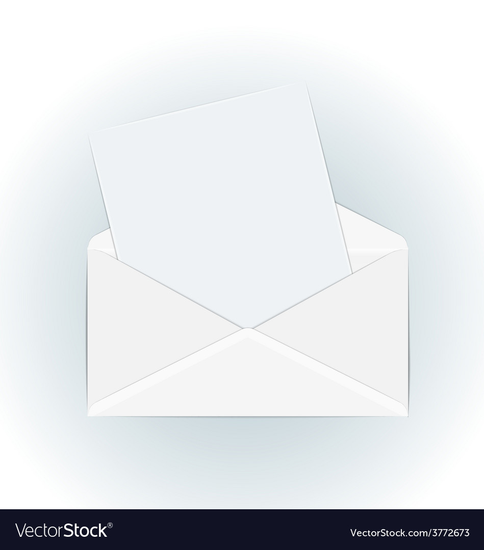 White open envelope with paper card - vector | Price: 1 Credit (USD $1)