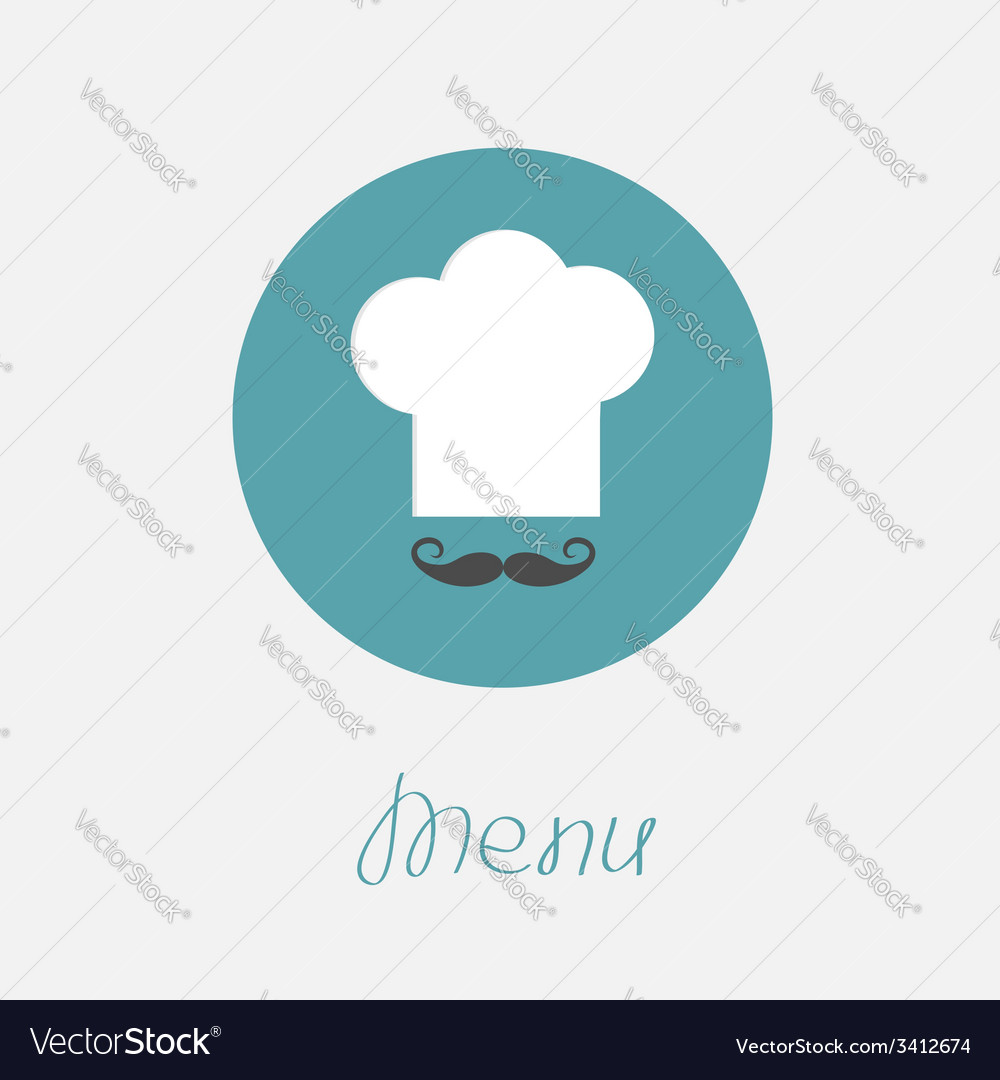 Big chef hat and mustache in the circle menu icon vector | Price: 1 Credit (USD $1)