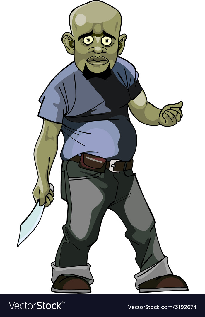 Cartoon goblin man thug with a knife vector | Price: 1 Credit (USD $1)