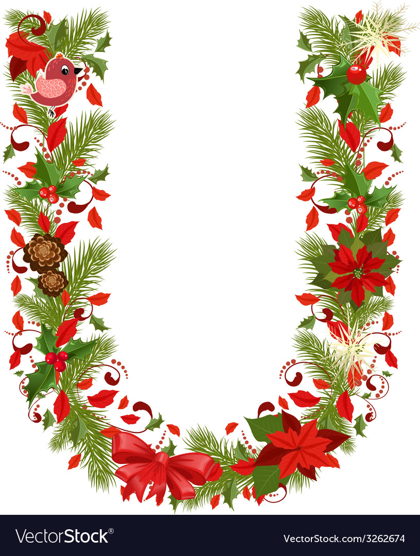 Christmas floral tree letter u vector | Price: 1 Credit (USD $1)