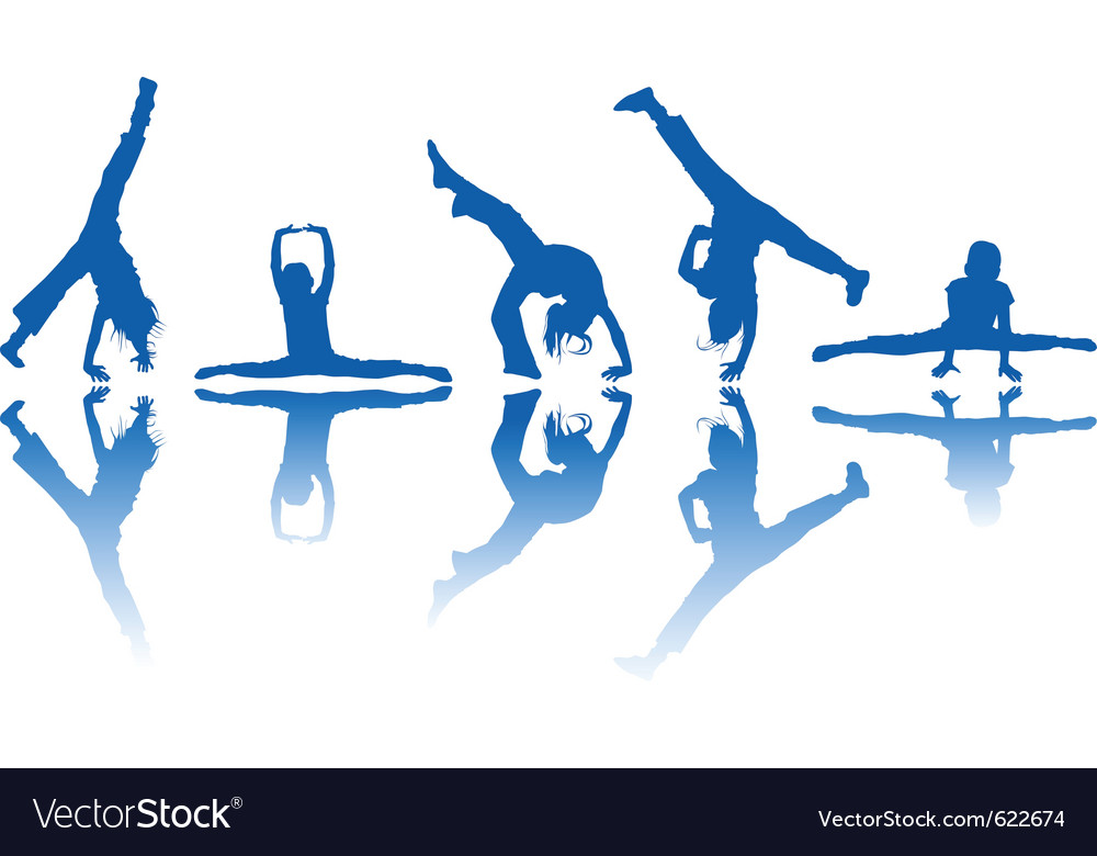 Dancing kids silhouettes and reflection over white vector | Price: 1 Credit (USD $1)