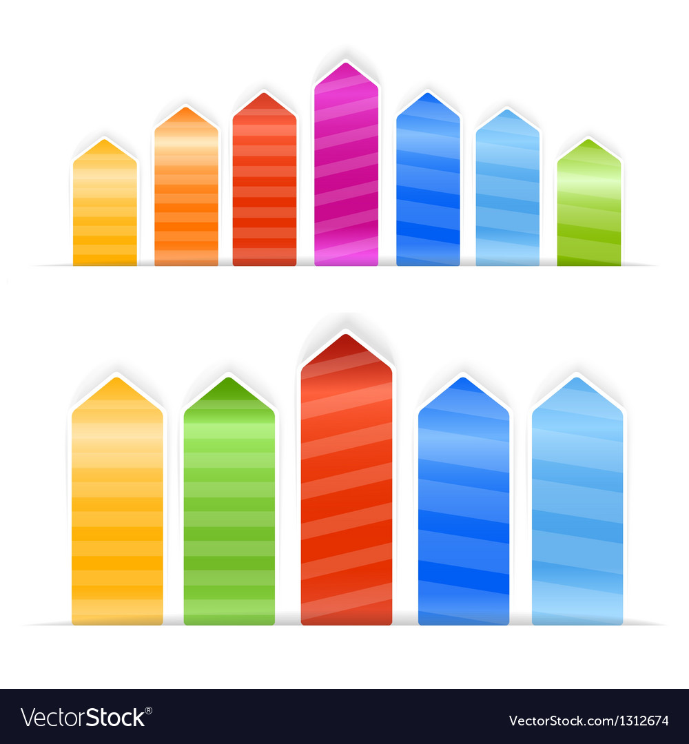 Different size color arrow stickers with stripes vector | Price: 1 Credit (USD $1)