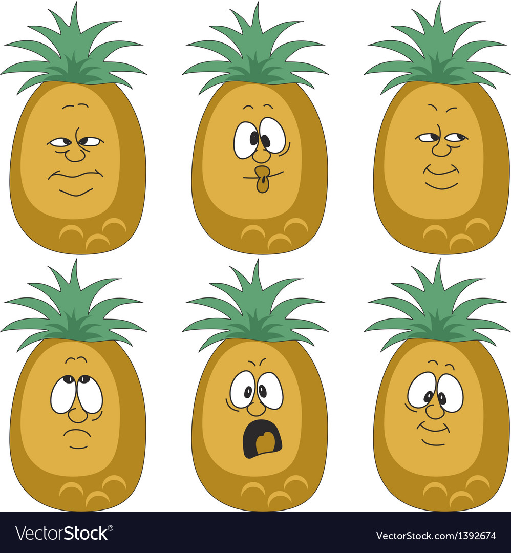 Emotion pineapple set vector | Price: 1 Credit (USD $1)