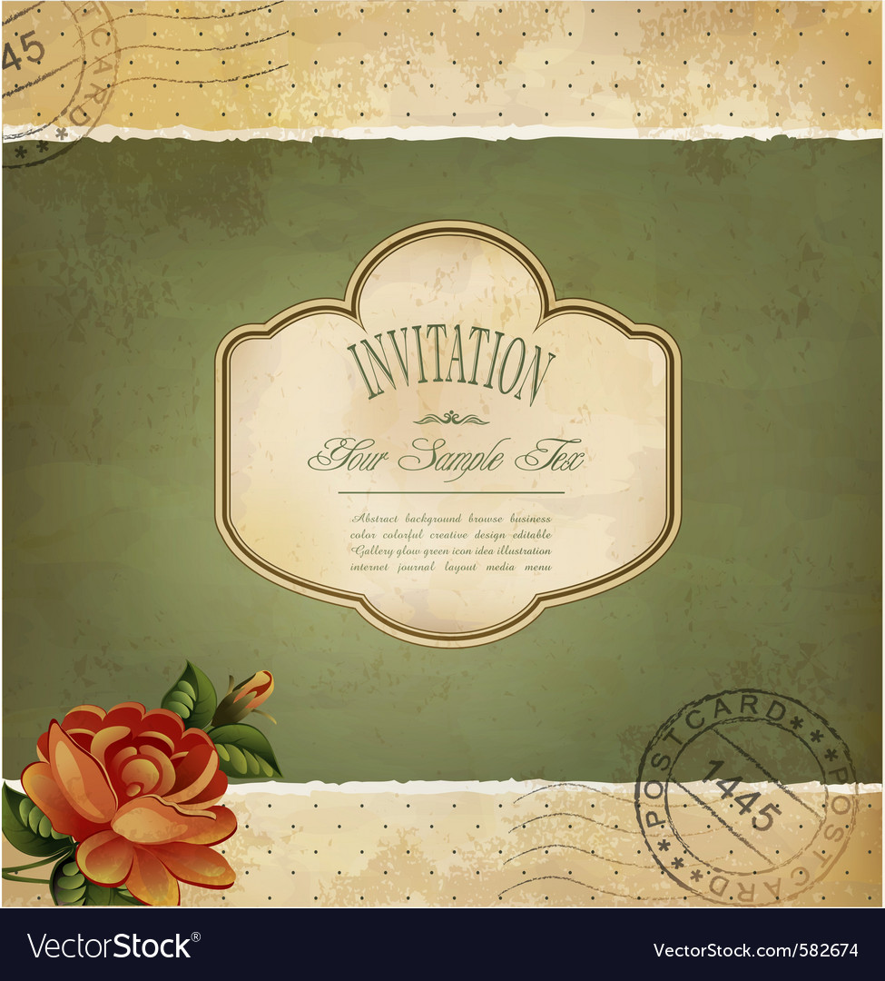 Grunge vintage invitation vector | Price: 1 Credit (USD $1)