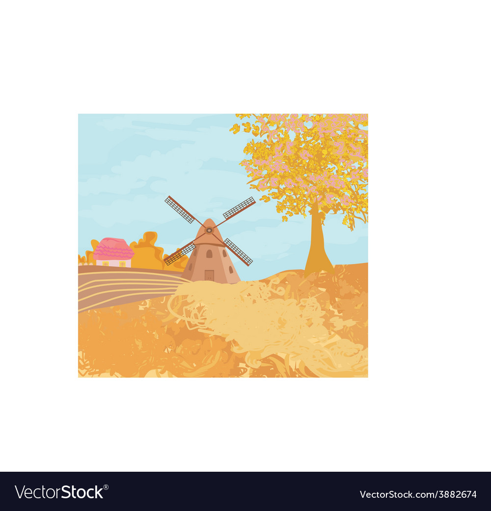 Landscape with windmill in autumn sunny day vector | Price: 1 Credit (USD $1)