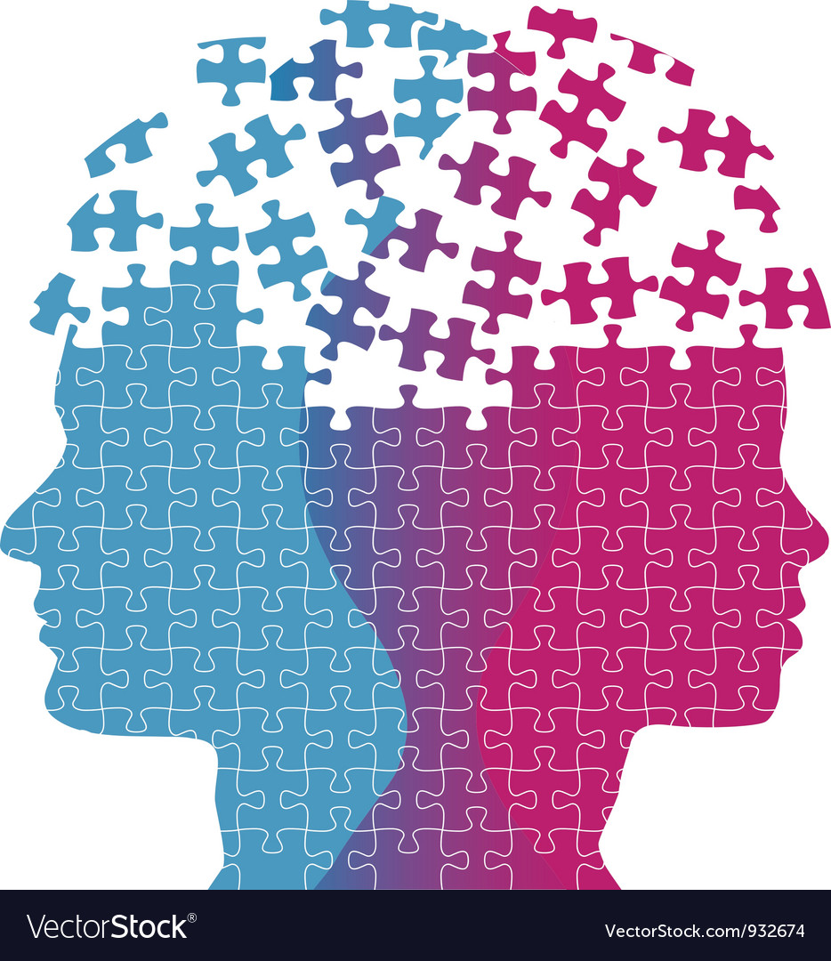 Man woman faces mind thought problem puzzle vector | Price: 1 Credit (USD $1)