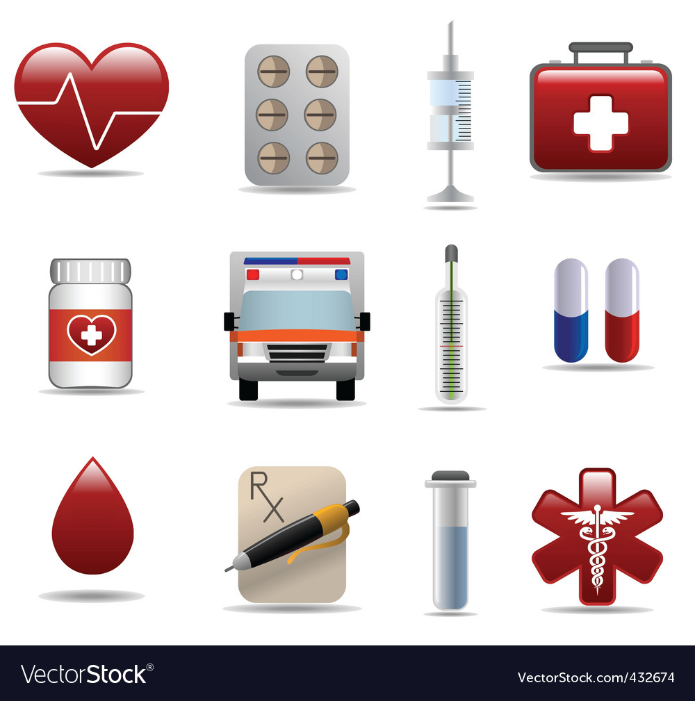 Medical and hospital icons set vector | Price: 1 Credit (USD $1)