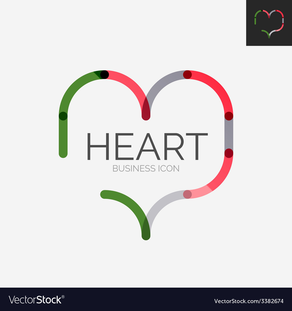 Minimal line design logo heart icon vector   Price: 1 Credit (USD $1)
