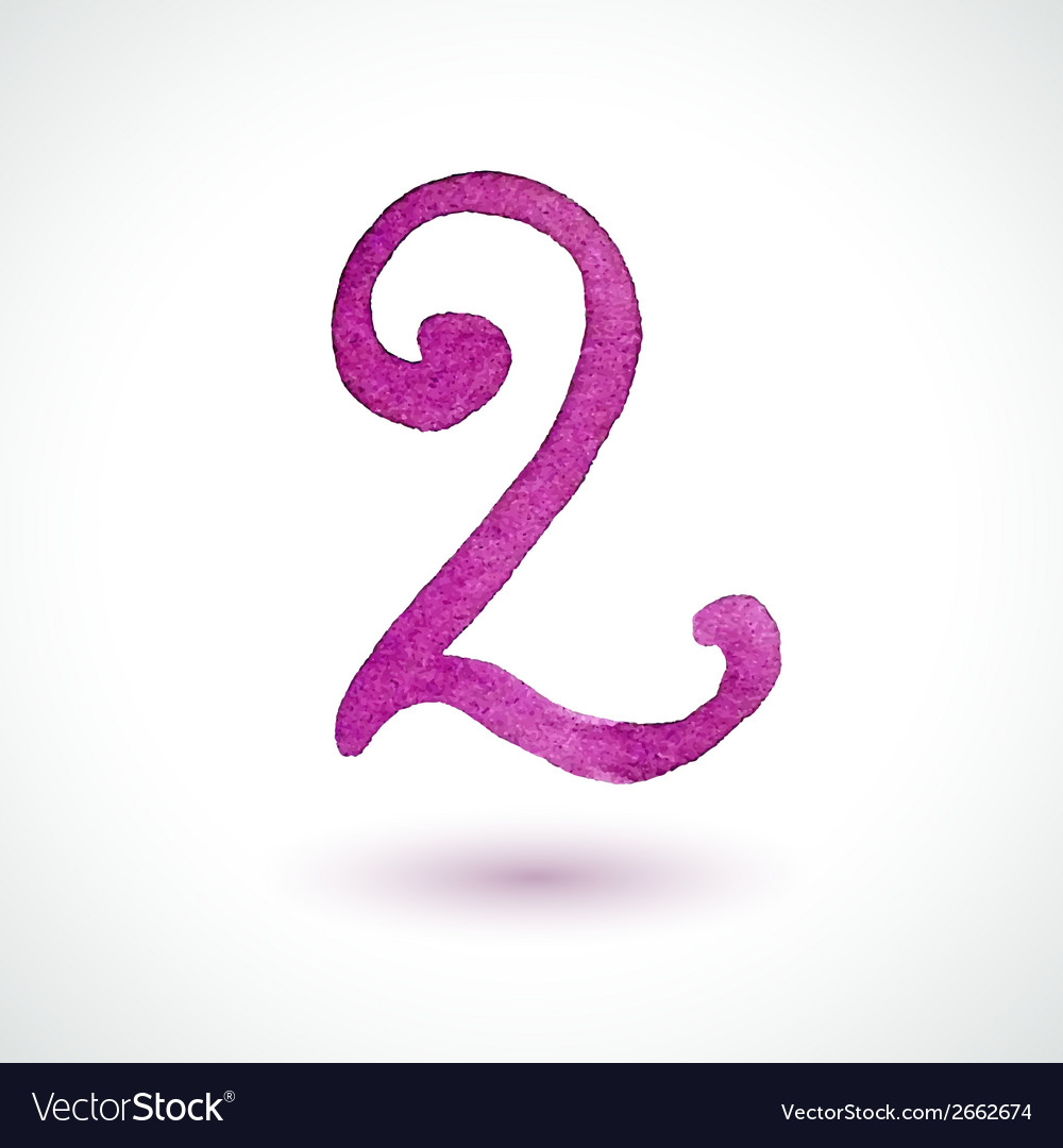 Number 2 painted with watercolor and brush on vector | Price: 1 Credit (USD $1)