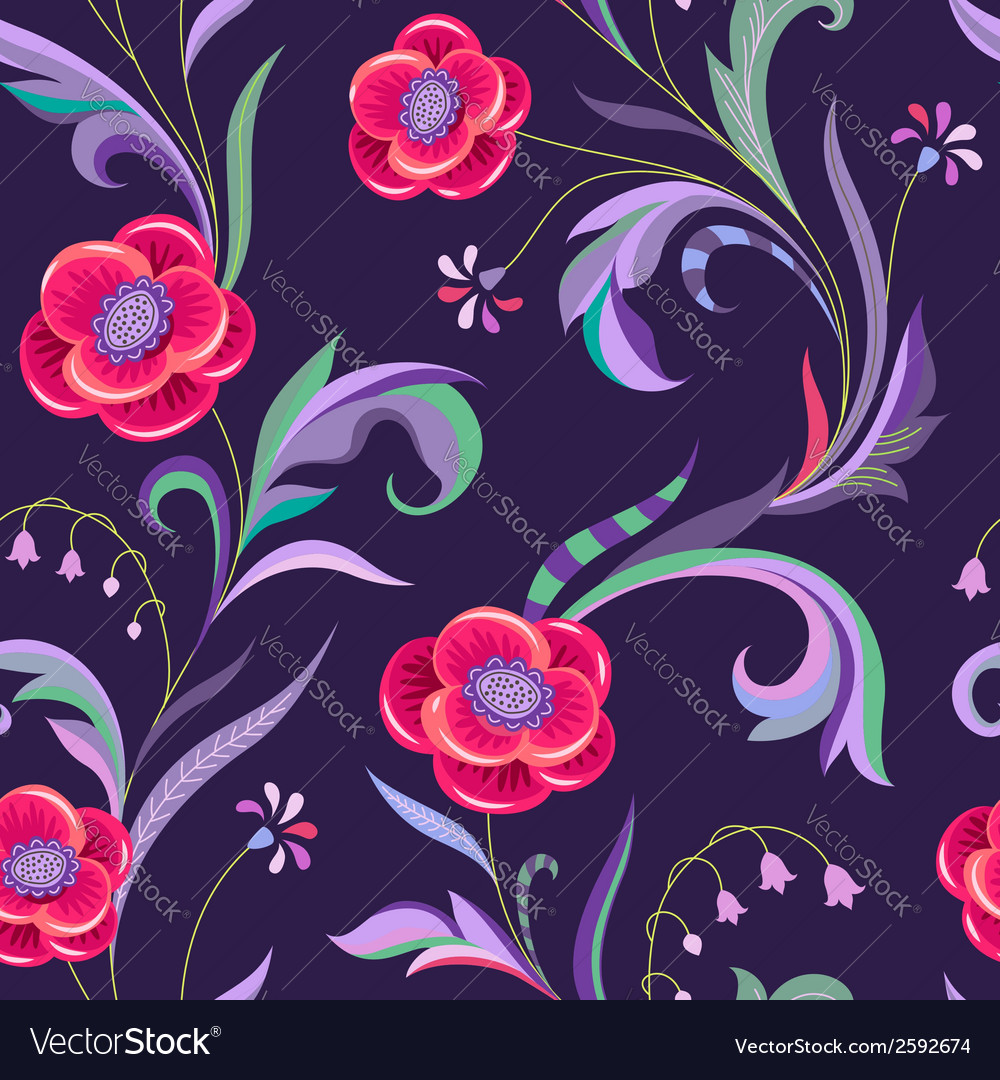 Pattern elegant flower night vector | Price: 1 Credit (USD $1)