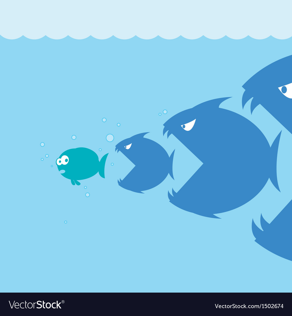Scared cartoon fish vector | Price: 1 Credit (USD $1)