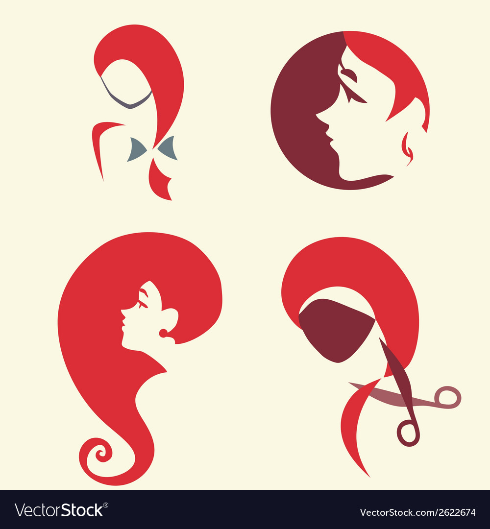 Set of icon with pretty woman faces vector | Price: 1 Credit (USD $1)