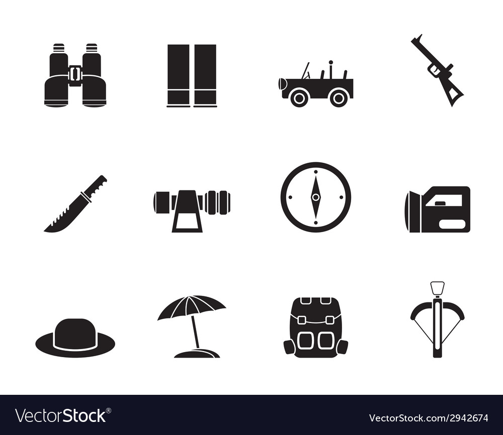 Silhouette safari and holiday icons vector | Price: 1 Credit (USD $1)