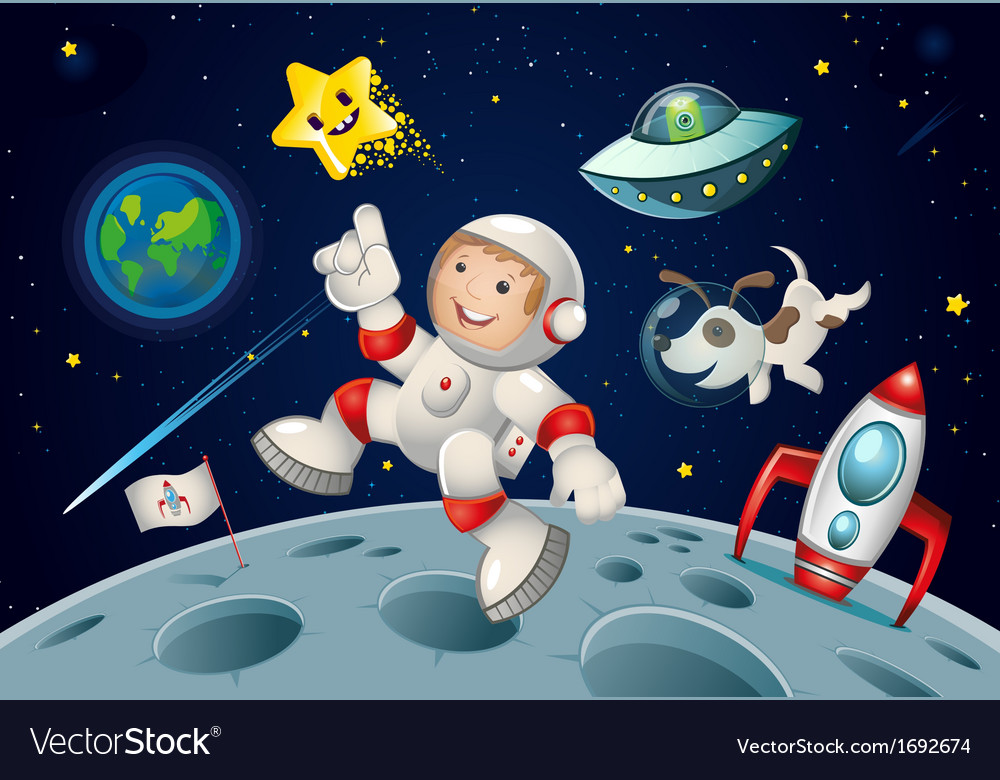 Space kid and dog vector | Price: 1 Credit (USD $1)