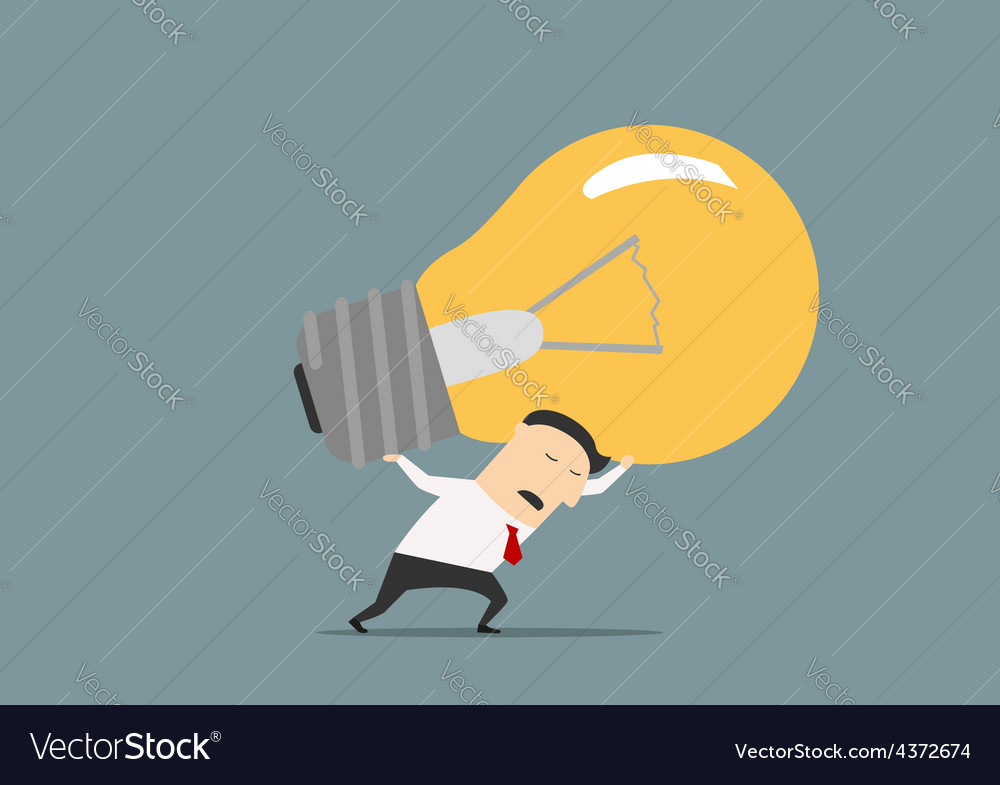 Unhappy businessman carrying the big idea vector | Price: 1 Credit (USD $1)