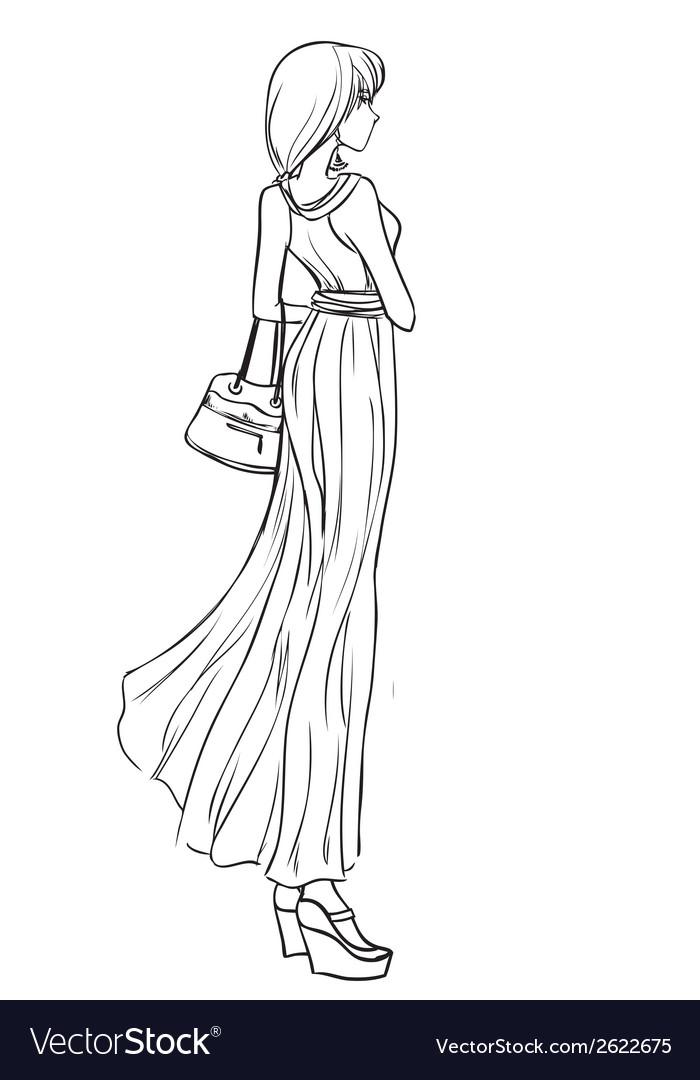 Beautiful girl in long elegant dress vector | Price: 1 Credit (USD $1)