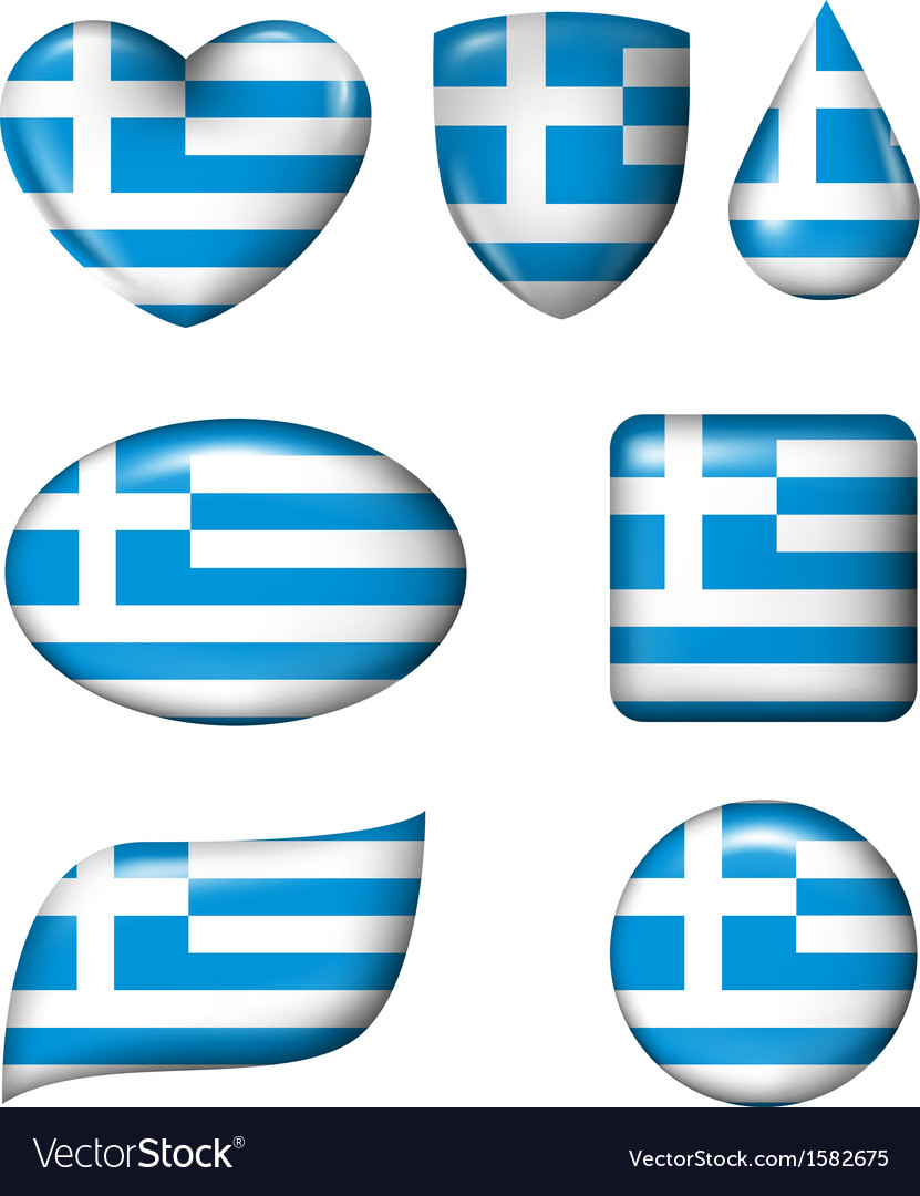 Greece flag in various shape glossy button vector | Price: 1 Credit (USD $1)