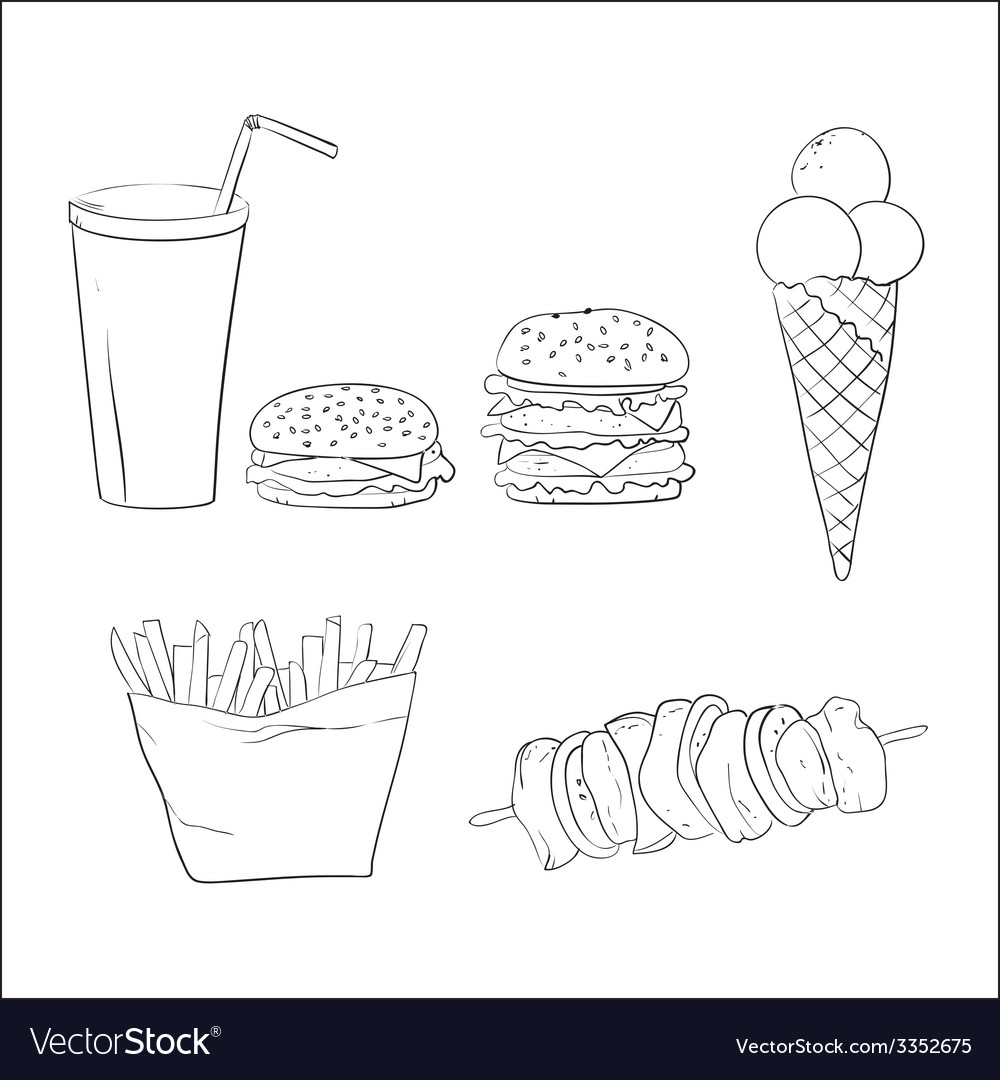 Hand drawn fast food doodles vector | Price: 1 Credit (USD $1)