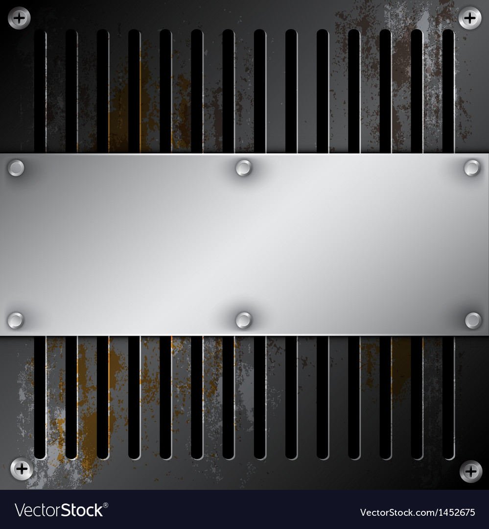 Metallic label with grille rusty vector | Price: 1 Credit (USD $1)