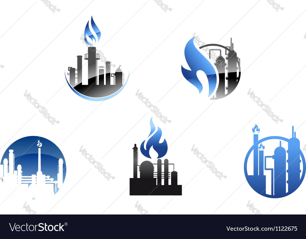 Refinery factory icons and symbols vector | Price: 1 Credit (USD $1)