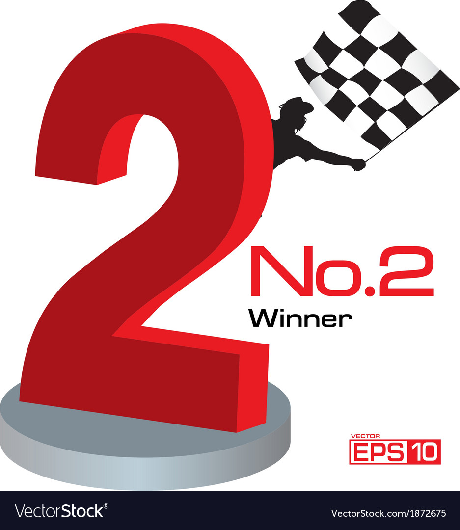 Trophy winner number 2 vector | Price: 1 Credit (USD $1)