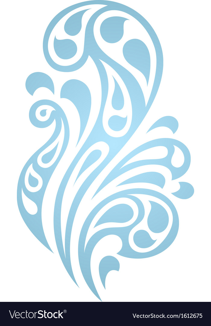 Water splash waves abstract design element vector | Price: 1 Credit (USD $1)
