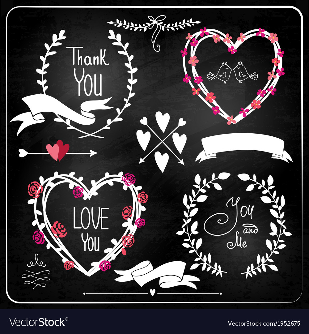 Wedding graphic set on chalkboard vector | Price: 1 Credit (USD $1)