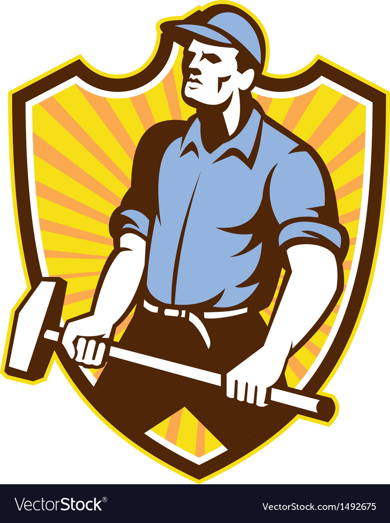 Worker wielding sledgehammer crest retro vector | Price: 1 Credit (USD $1)