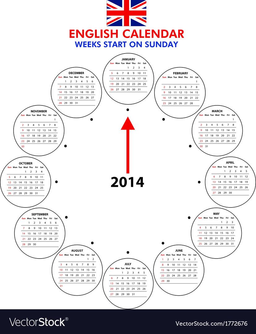 Calendar 2014 starts sunday vector | Price: 1 Credit (USD $1)