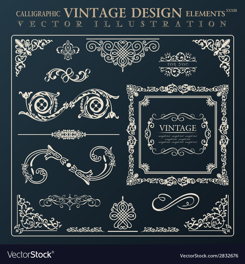 Calligraphic design elements vintage ornament vector | Price: 1 Credit (USD $1)