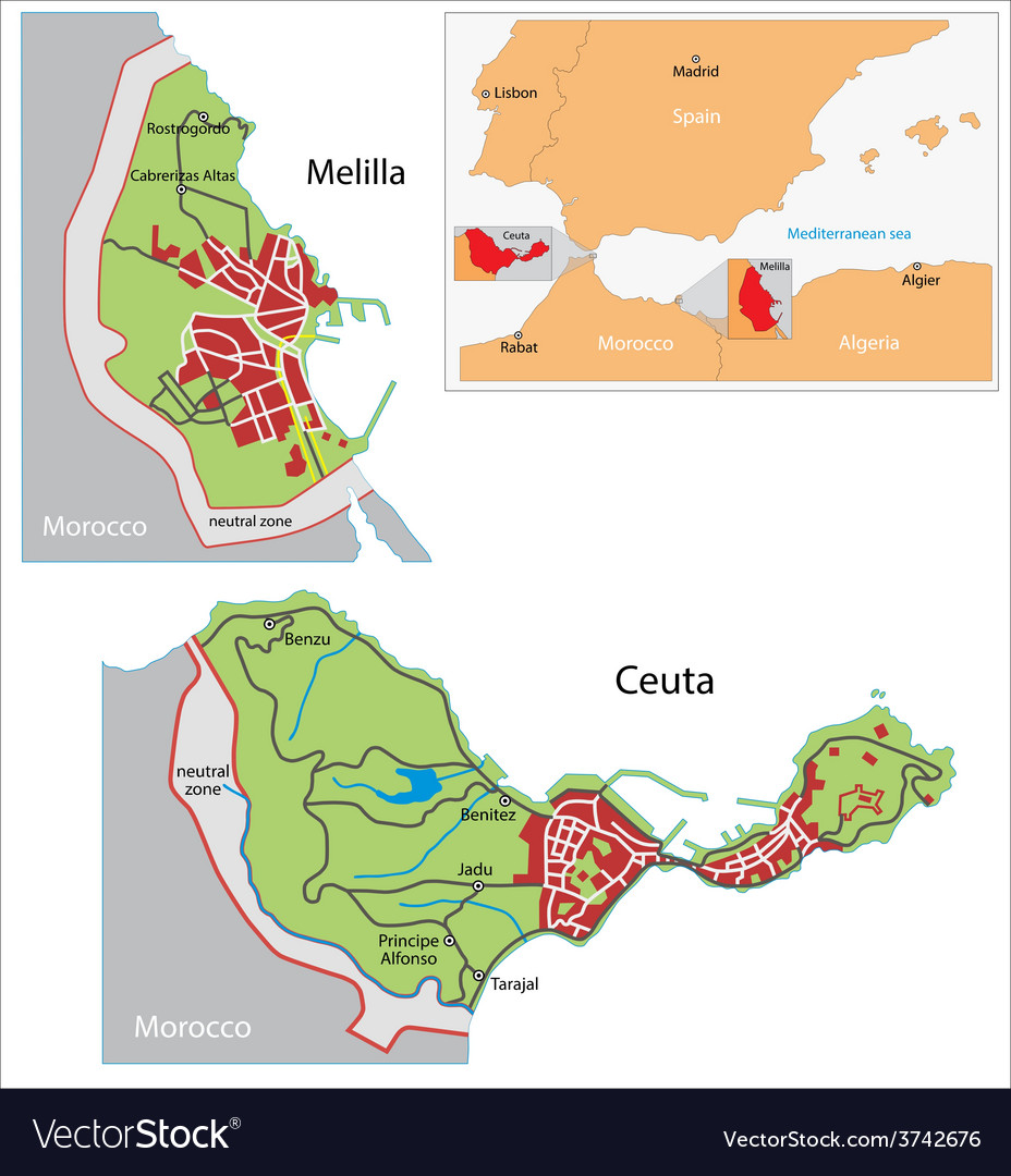 Ceuta and melilla map vector | Price: 1 Credit (USD $1)